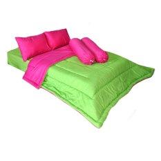 Beli Cendra Set Bed Cover Barbara Hijau Pink Terbaru