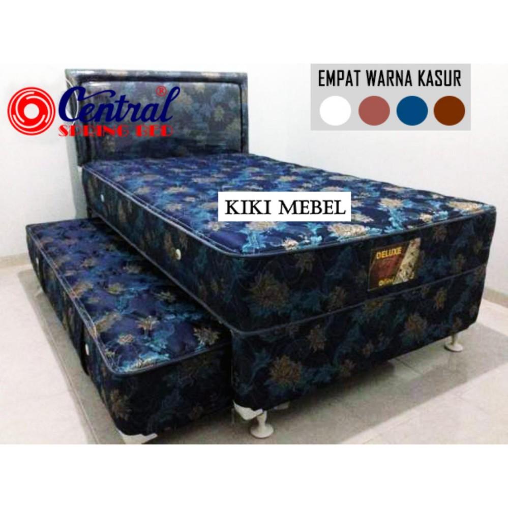 Central Spring Bed Deluxe 2 In 1 Florida Komplit Set 120x200 Motif Sandaran Kotak – Biru – Free Ongkir Jakarta