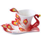Beli Keramik Tea Cup Set Peacock Eropa Cokelat Kehitaman Cup 180 Ml Merah Kredit