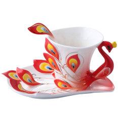 Keramik Tea Cup Set Peacock Eropa Cokelat Kehitaman Cup 180 Ml Merah Oem Murah Di Tiongkok