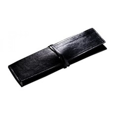 Cerbery® Elegantes Stifteetui aus Leder Etui Federmappe Pencil case Kosmetiktasche Lederetui Mappe Mäppchen Pinseltasche schlampermäppchen Schlamperrolle Stiftetasche Tasche (Schwarz) - intl