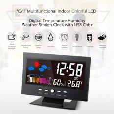 C/�F Indoor Colorful LCD Digital Suhu Kelembaban Meter Stasiun Cuaca Kalender Jam Alarm Tingkat Kenyamanan Ramalan Cuaca Vioce -Activated Backlight dengan USB Kabel-Intl
