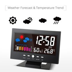 �C/�F Indoor Colorful LCD Digital Temperature Humidity Meter Weather Station Clock Calendar Alarm Comfort Level Weather Forecast Vioce-activated Backlight with USB Cable - intl