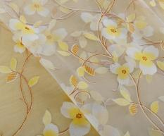 Cheap Luxury Voile Net Curtains Slot Top Plain Floral for Door Screen Windows