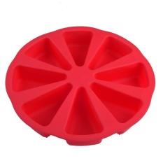 CHEER 8 Rongga Scone Panci Silicone Cake Cetakan Kue Oven Roti Pizza Bakeware Merah-Intl