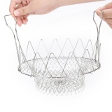 Spesifikasi Chef Fry Frying Basket Foldable Rinse Strain Poach Boil Basket Strainer Kitchen Intl Oem