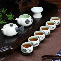 Jual Cina Keramik Porselen Cina Kung Fu Set Teh Celadon Biru Peony Cangkir Teh Pot Keramik 10 Pack Biru Pemandangan International Murah Di Tiongkok