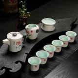 Beli Cina Keramik Porselen Cina Kung Fu Set Teh Celadon Biru Peony Cangkir Teh Pot Keramik 10 Pack Internasional Online