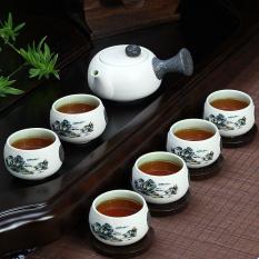 China Keramik Porselen Cina Kung Fu Tea Set Celadon Biru Peony Teacup Pot Teh Keramik 7 Pack Blue Landscape Intl Original