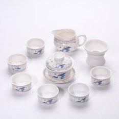 Promo China Keramik Porselen Cina Kung Fu Tea Set Jingdezhen Matt Glaze Pot Teh Keramik Cover Bowl 10 Pack Bunga Biru Dan Merah Intl
