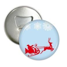 Hari Natal Rusa Besar Sled Kepingan Salju Pola Sepanjang Pembuka Botol Magnet Kulkas Pins Lencana Tombol Hadiah 3 Pcs-Internasional