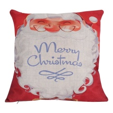 Natal Meriah Cushion Covers Sofa Rumah Dekorasi LinenPillowcases Square-Internasional