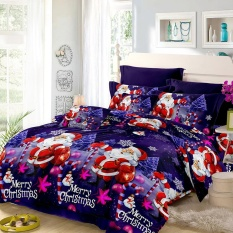 Christmas Santa Bedding Set Polyester 3D Printed Duvet Cover + 2pcs Pillowcases + Bed Sheet Set Christmas Bedroom Decorations--Queen Size - intl