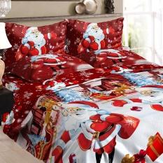 Natal Santa Bedding Set Polyester 3D Printed Duvet Cover + 2 Pcs Pillowcases + Bed Sheet Set Natal Dekorasi Kamar Tidur -Twin Ukuran Lebih-Internasional