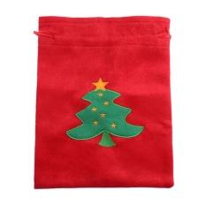 Natal Santa Claus Permen Penyimpanan Tas Golden Flanel (Merah)-Intl