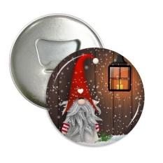 Natal Santa Klausa Kepingan Salju Kumis Sepanjang Pembuka Botol Magnet Kulkas Pins Lencana Tombol Hadiah 3 Pcs-Internasional