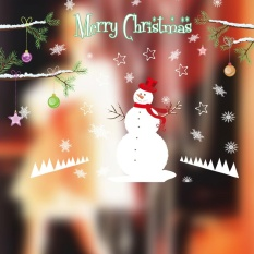 Christmas Snowman Removable Furniture Vinyl Window Wall Sticker Decoration - intl