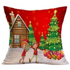 Natal Sofa Bed Home Decor Bantal Sarung Bantal-Internasional