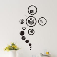 Spesifikasi Lingkaran Cermin Jam Dinding Hitam Desain Modern Dekorasi Rumah Menonton Stiker Dinding Internasional Terbaik