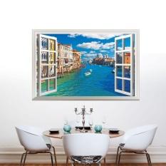 City River 3D Landscape Wall Sticker Creative Fake Window Wall Poster DIY Dekorasi Rumah untuk Ruang