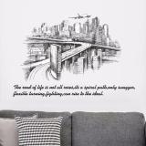 Harga Kota Sketsa Siluet Samping Tempat Tidur Masuk Vesting Room Sofa Stiker Dinding Intl Wuxiang Original