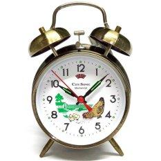 City Sonic WZ004-D Mekanis Tradisional Alarm Clock (Brassy)-Intl