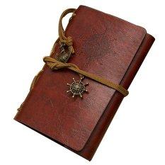 Harga Hemat Retro Klasik Kulit Antik Bajak Laut Terikat Halaman Kosong Buku Catatan Jurnal Harian Merah Campur Coklat