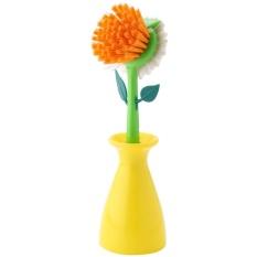 Kuas Pembersih Bunga Bentuk Pan Pot Cuci Sikat Dapur Alat Pembersih (Kuning)-Intl