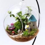 Jual Clear Round Kaca Vas Gantung Botol Terarium Dekorasi 12 Cm With Holder Intl Baru