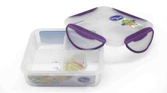 Clip Fresh Plastic Square Food Storage 0.6L With 4 dividers - Transparan/Lid Violet