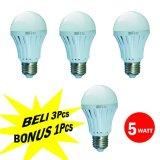 Toko Cmos Led Bulb 5W Rc E27 Paket 3 Pcs Bonus 1 Pcs Day Light Putih Terlengkap Dki Jakarta