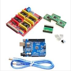 CNC Shield V3 Ukiran Mesin 3D Printer + 4 Pcs A4988 Unit Ekspansi Pengemudi untuk Arduino + UNO R3 dengan USB Kabel-Intl