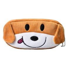 Beli Cocotina Cute Kids Stationery Perlengkapan Sekolah Kartun Kawaii Kotak Pensil Plush Pen Tas Penyimpanan Anjing Coklat Terbaru