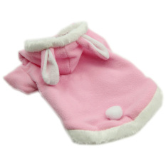 Cocotina Hewan Peliharaan Photo: Pakaian Desain Kelinci Hoodie Fancy Dress Anjing Kucing Hangat Baju Mantel (Merah Muda) -S