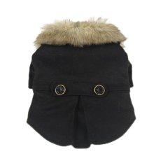 Cocotina Anjing Peliharaan Mewah Faux Mantel Kerah Bulu Anak Anjing Kucing Musim Dingin Jaket Hangat Pakaian Kostum Aparel (Hitam)-XS