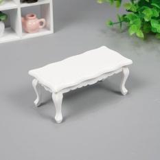 Cocotina Miniatur Model Mebel Kayu Solid Meja Kopi Putih-Intl