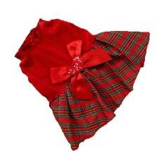 Harga Cocotina Pet Anjing Anak Anjing Palysuit Memeriksa Pola Kotak Kotak Natal Kostum Baju Gaun Natal Merah M Hong Kong Sar Tiongkok
