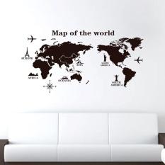 Cocotina Peta Dunia Vinil PVC Dapat Dilepas Seni Stiker Dinding Ruangan Stiker Lukisan Dinding Dekorasi Rumah