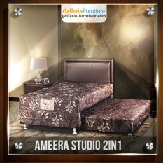 Bed Sorong Studio 2 in 1 100x200 cm (Set Lengkap Lengkap Kasur atas, Sorong bawah & Sandaran Ameera) [Coklat Tua]