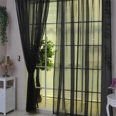 Colorful Door Window Curtain Drape Sheer Voile Hitam-Intl