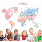 Spek Peta Dunia Berwarna Warna Warni Perjalanan Bahasa Inggris Huruf Stiker Dinding Rumah Stiker Pvc Mural Paper House Wallpaper Ruang Tamu Dekorasi Kamar Tidur Gambar Seni Untuk Anak Remaja Dewasa Senior Bayi International Tiongkok