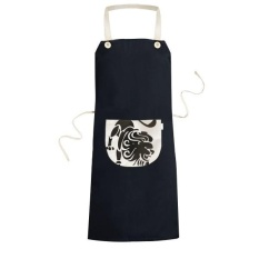Rasi Leo Zodiak Tanda Simbol Mark Silhouette Ilustrasi Pola Memasak Dapur Hitam Bib Celemek dengan Saku