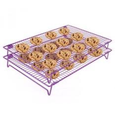Mendinginkan Kue Down 2 Pcs Non-stick Food Kelas 17X11 Inci Baja Tier Grid kawat Rak Pendingin untuk Panggang, bagus untuk Kue, Kue Kering, Roti, Panggang Lainnya Makanan, Kaki Stabil, Oven Aman, ungu 546.2-Internasional