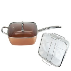 Copper-colored Aluminium Square Cookware Set Nonstick Kitchen Chef Cooking Kit Faster Heating Dishwasher Safe - intl