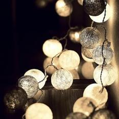 Cotton Ball Light LED / Lampu LED Tumblr Benang Lampion Gantung Hias Warna Abu - abu Grey Tone for Decor
