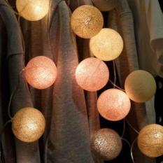 Cotton Ball Light LED / Lampu LED Tumblr Benang Lampion Gantung Hias Warna Coklat / Brown Tone for Decor