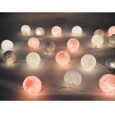Cotton Ball Light LED / Lampu Tumblr LED Benang Lampion Gantung Hias Warna Pink - Grey Tone for Decor