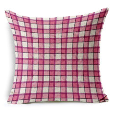 Cotton Linen Square Bantal Bantal Bantal Bantal Cushion Cover Pola Cek Klasik KZ004-007-Intl