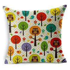 Cotton Linen Square Dekoratif Bantal Bantal Sarung Bantal Lucu Owl dan Pohon Gambar Desain KZ013-005-Intl