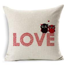 Cotton Linen Square Bantal Bantal Bantal Bantal Cushion Cover Owl dan Cinta Gambar Desain KZ013-007-Intl